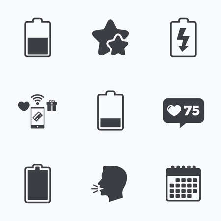 Battery charging icons. Electricity signs symbols. Charge levels: full, half and low. Flat talking head, calendar icons. Stars, like counter icons. Vector