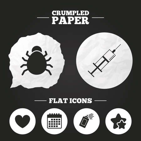 Crumpled paper speech bubble. Bug and vaccine syringe injection icons. Heart and spray can sign symbols. Paper button. Vector