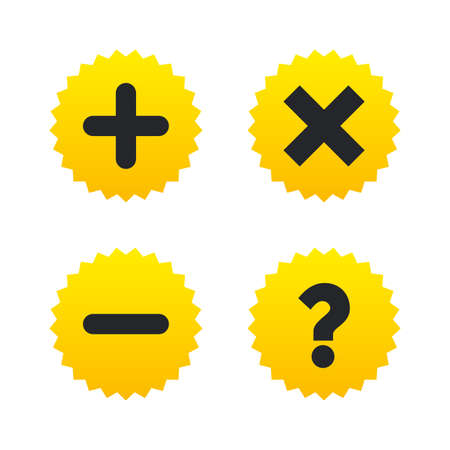 Plus and minus icons. Delete and question FAQ mark signs. Enlarge zoom symbol. Yellow stars labels with flat icons. Vector Stock Illustratie