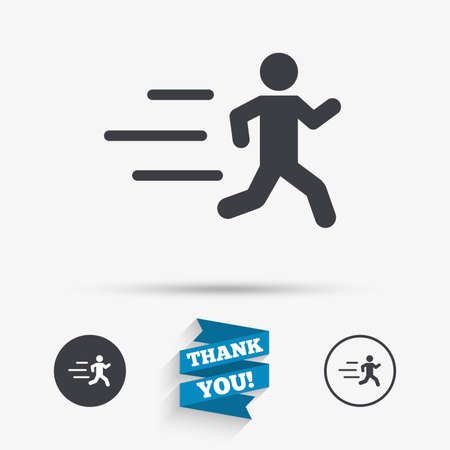 Running sign icon. Human sport symbol. Flat icons. Buttons with icons. Thank you ribbon. Vector