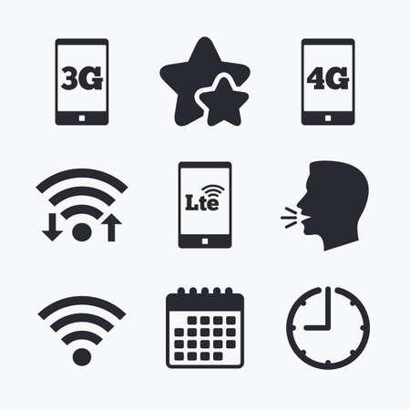 Icônes de télécommunications mobiles. Symboles des technologies 3G, 4G et LTE. Wifi Signes d'évolution sans fil et à long terme. Internet Wifi, étoiles préférées, calendrier et horloge. Tête parlante. Vecteur