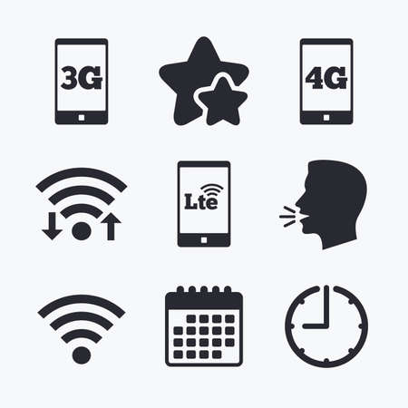 Mobile telecommunications icons. 3G, 4G and LTE technology symbols. Wifi Wireless and Long-Term evolution signs. Wifi internet, favorite stars, calendar and clock. Talking head. Vector