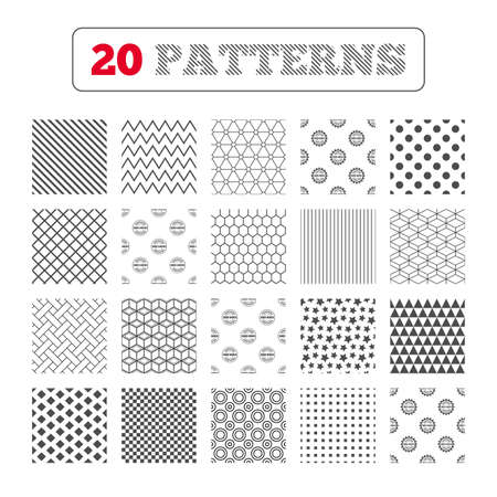 Ornament patterns, diagonal stripes and stars. ISO 9001 and 14001 certified icons. Certification star stamps symbols. Quality standard signs. Geometric textures. Vector