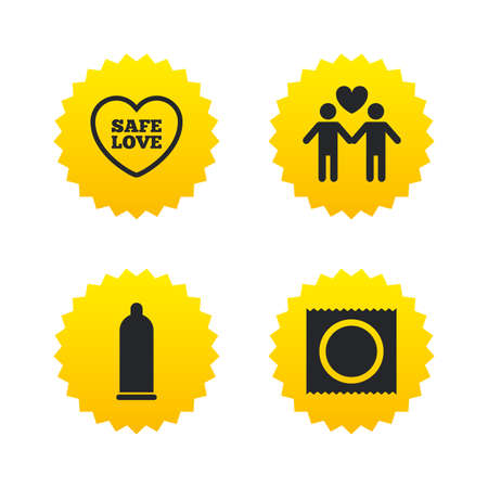 Condom safe sex icons. Lovers Gay couple signs. Male love male. Heart symbol. Yellow stars labels with flat icons. Vector