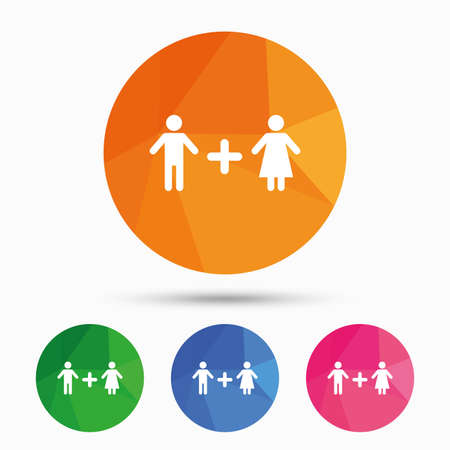 Couple sign icon. Male plus female. Lovers. Triangular low poly button with flat icon. Vector Illustration