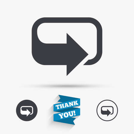 Rotation icon. Repeat symbol. Refresh sign. Flat icons. Buttons with icons. Thank you ribbon. Vector