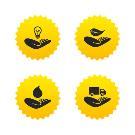 Helping hands icons. Intellectual property insurance symbol. Delivery truck sign. Save nature leaf and water drop. Yellow stars labels with flat icons. Vector