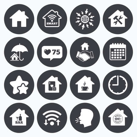 Calendar, wifi and clock symbols. Like counter, stars symbols. Real estate icons. House insurance, broker and casino with bar signs. Handshake deal, coffee and smart house symbols. Talking head, go to web symbols. Vector