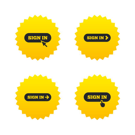 Sign in icons. Login with arrow, hand pointer symbols. Website or App navigation signs. Yellow stars labels with flat icons. Vector