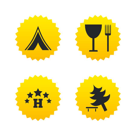 Food, hotel, camping tent and tree icons. Wineglass and fork. Break down tree. Road signs. Yellow stars labels with flat icons. Vector 向量圖像