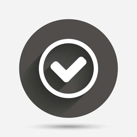 Check mark sign icon. Yes circle symbol. Confirm approved. Circle flat button with shadow. Vector