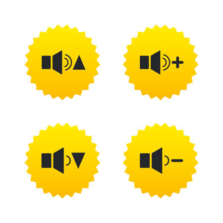 Player control icons. Sound louder and quieter signs. Dynamic symbol. Yellow stars labels with flat icons. Vector