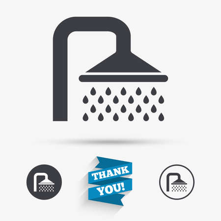 Shower sign icon. Douche with water drops symbol. Flat icons. Buttons with icons. Thank you ribbon. Vector Illustration