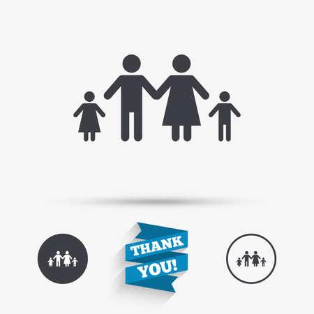 Icône de signe de famille avec deux enfants. Symbole de famille complet. Icônes plates. Boutons avec des icônes. Merci ruban. Vecteur