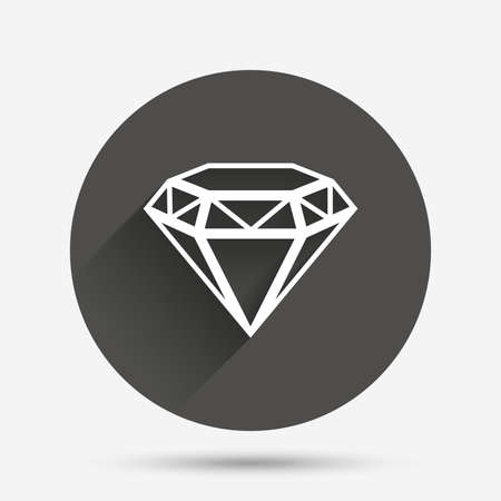 Diamond sign icon. Jewelry symbol. Gem stone. Circle flat button with shadow. Vector  イラスト・ベクター素材