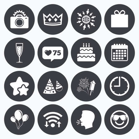 Calendar, wifi and clock symbols. Like counter, stars symbols. Party celebration, birthday icons. Fireworks, air balloon and champagne glass signs. Gift box, cake and photo camera symbols. Talking hea