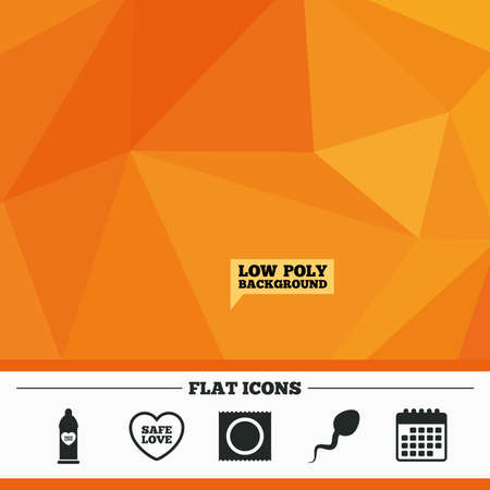 Triangular low poly orange background. Safe sex love icons. Condom in package symbol. Sperm sign. Fertilization or insemination. Calendar flat icon. Vector