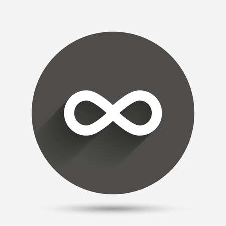 Limitless sign icon. Infinity symbol. Circle flat button with shadow. Vector