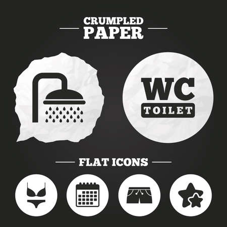 Crumpled paper speech bubble. Swimming pool icons. Shower water drops and swimwear symbols. WC Toilet sign. Trunks and women underwear. Paper button. Vector