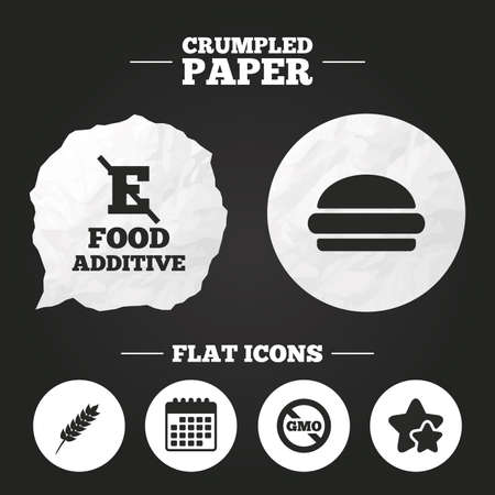 Crumpled paper speech bubble. Food additive icon. Hamburger fast food sign. Gluten free and No GMO symbols. Without E acid stabilizers. Paper button. Vector