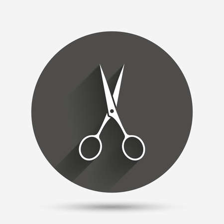Scissors hairdresser sign icon. Tailor symbol. Circle flat button with shadow. Vector