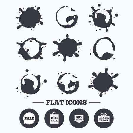 Paint, coffee or milk splash blots. Sale speech bubble icons. Buy now arrow symbols. Black friday gift box signs. Big sale shopping bag. Smudges splashes drops. Vector