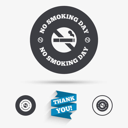 No smoking day sign icon. Quit smoking day symbol. Flat icons. Buttons with icons. Thank you ribbon. Vector 向量圖像