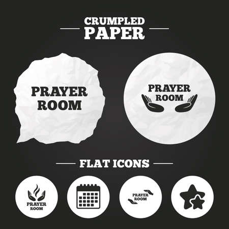 Crumpled paper speech bubble. Prayer room icons. Religion priest faith symbols. Pray with hands. Paper button. Vector