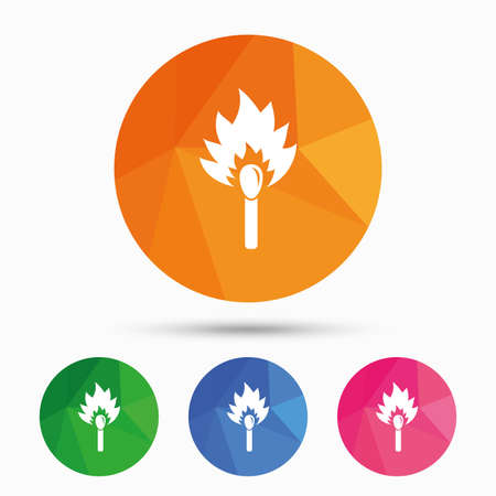 Match stick burns icon. Burning matchstick sign. Fire symbol. Triangular low poly button with flat icon. Vector Illustration