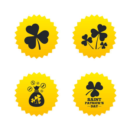 Saint Patrick day icons. Money bag with clover and coins sign. Trefoil shamrock clover. Symbol of good luck. Yellow stars labels with flat icons. Vector Illustration