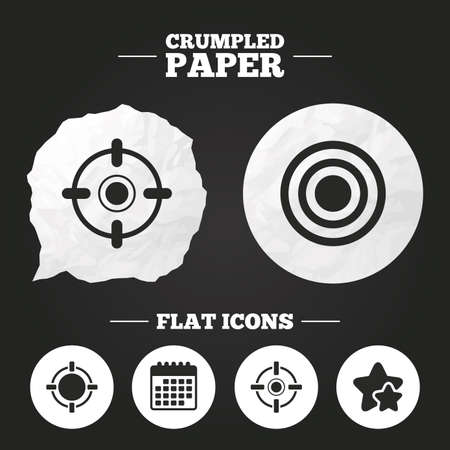 sights: Crumpled paper speech bubble. Crosshair icons. Target aim signs symbols. Weapon gun sights for shooting range. Paper button. Vector
