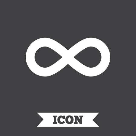 eternally: Limitless sign icon. Infinity symbol. Graphic design element. Flat limitless symbol on dark background. Vector Illustration