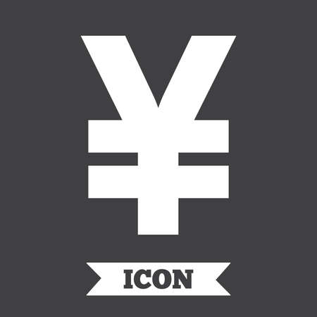 yen sign: Yen sign icon. JPY currency symbol. Money label. Graphic design element. Flat money yen symbol on dark background. Vector Illustration