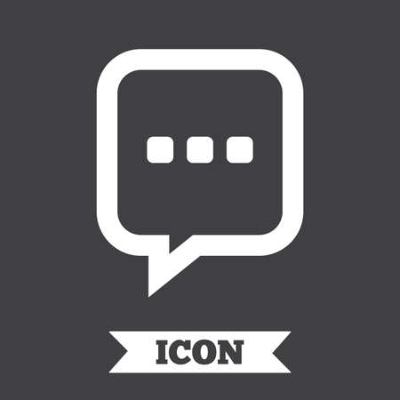 three points: Chat sign icon. Speech bubble with three dots symbol. Communication chat bubble. Graphic design element. Flat message symbol on dark background. Vector