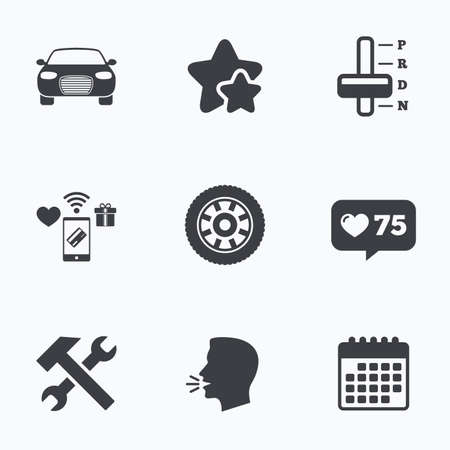 automatic transmission: Transport icons. Car tachometer and automatic transmission symbols. Repair service tool with wheel sign. Flat talking head, calendar icons. Stars, like counter icons. Vector Illustration
