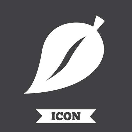 flat leaf: Leaf sign icon. Fresh natural product symbol. Graphic design element. Flat leaf symbol on dark background. Vector