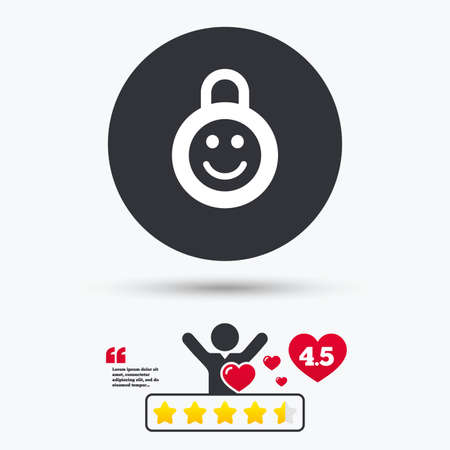 child protection: Child lock icon. Locker with smile symbol. Child protection. Star vote ranking. Person with heart. Quotes with message. Vector