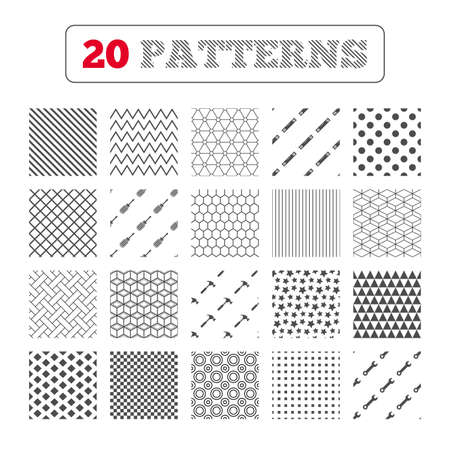 bubble level: Ornament patterns, diagonal stripes and stars. Screwdriver and wrench key tool icons. Bubble level and hammer sign symbols. Geometric textures. Vector Illustration