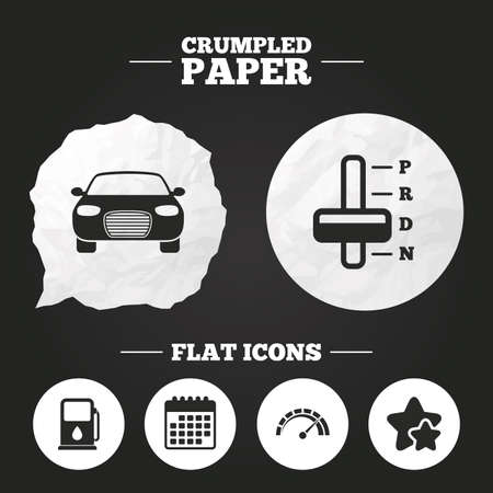 automatic transmission: Crumpled paper speech bubble. Transport icons. Car tachometer and automatic transmission symbols. Petrol or Gas station sign. Paper button. Vector Illustration