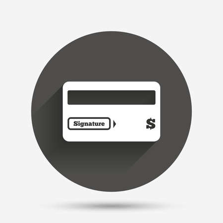 debit: Credit card sign icon. Debit card symbol. Virtual money. Circle flat button with shadow. Vector