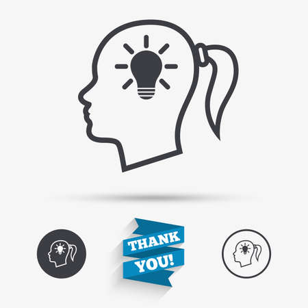 pigtail: Head with lamp bulb sign icon. Female woman human head idea with pigtail symbol. Flat icons. Buttons with icons. Thank you ribbon. Vector Illustration