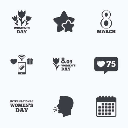 calendar day: 8 March Womens Day icons. Tulips or rose flowers bouquet sign symbols. Flat talking head, calendar icons. Stars, like counter icons. Vector Illustration