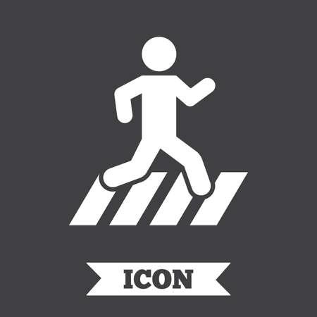senda peatonal: icono del paso de peatones. Muestra de la traves�a de la calle. elemento de dise�o gr�fico. s�mbolo del paso de peatones plano sobre fondo oscuro. Vector