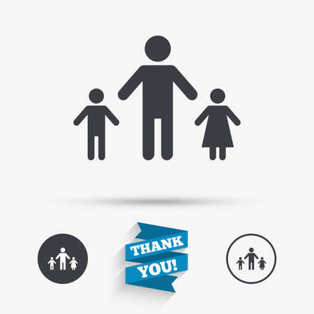 family with two children: One-parent family with two children sign icon. Father with son and daughter symbol. Flat icons. Buttons with icons. Thank you ribbon. Vector Illustration