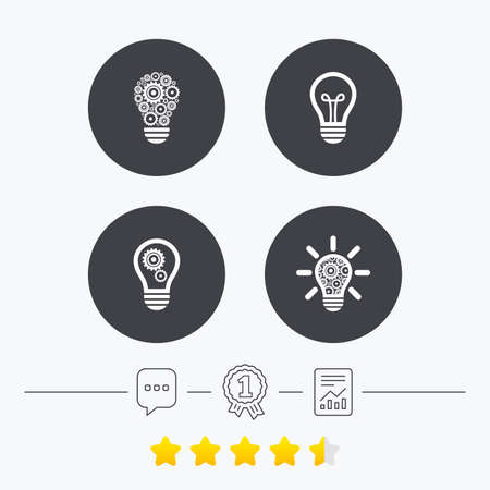 energy ranking: Light lamp icons. Lamp bulb with cogwheel gear symbols. Idea and success sign. Chat, award medal and report linear icons. Star vote ranking. Vector Illustration