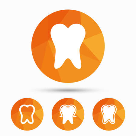 stomatologist: Tooth enamel protection icons. Dental care signs. Healthy teeth symbols. Triangular low poly buttons with shadow. Vector Illustration