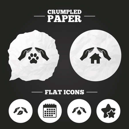think safety: Crumpled paper speech bubble. Hands insurance icons. Shelter for pets dogs symbol. Save water drop symbol. House property insurance sign. Paper button. Vector