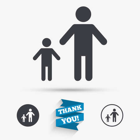 family with one child: One-parent family with one child sign icon. Father with son symbol. Flat icons. Buttons with icons. Thank you ribbon. Vector