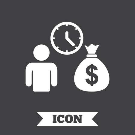 loans: Bank loans sign icon. Get money fast symbol. Borrow money. Graphic design element. Flat loans symbol on dark background. Vector