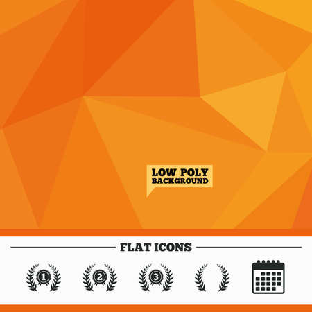 second prize: Triangular low poly orange background. Laurel wreath award icons. Prize for winner signs. First, second and third place medals symbols. Calendar flat icon. Vector Illustration